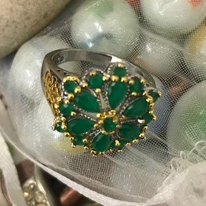 Jewelry - BEAUTIFUL STERLING GP JADE FLORAL RING 6